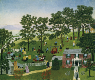 """Anna Mary Robertson """"Grandma"""" Moses: Apple Butter Making. 1947. Private collection; Courtesy Galerie St. Etienne, New York. c2020, Grandma Moses Properties Co., NY"""